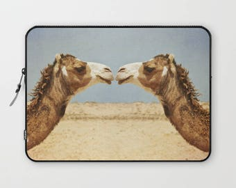 camel laptop sleeve, camels, animals, love and affection, animal kiss, computer protection, cute animals, camel kiss, office, gift idea
