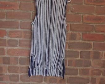 80s OCEAN BLUE patterned dress