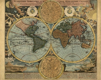 Antique Map of the World Global Maps Old Atlas Instant Download image printable picture  for scrapbooking, decor,  prints, etc HQ 300dpi