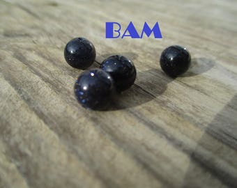 Set of 10 beads 8mm blue midnight sequined