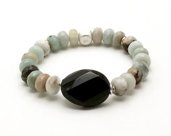Pastel Amazonite Dramatic Black Obsidian Focal Minimalist Bracelet   Sterling Silver Faceted Stone Luxe Beaded For Her Under 160