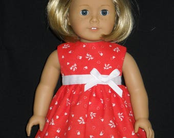 18 inch Doll Dress Fits American Girl Our Generation Dolls Handmade Red with Hearts and Bows