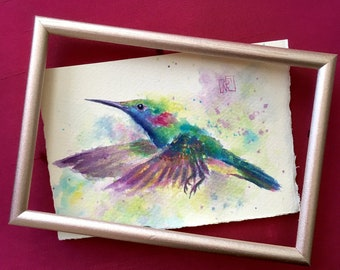 Hummingbird original watercolour Greeting Card. Watercolor Hummingbird, bird artwork, bird watercolor, watercolor bird art, bird painting.
