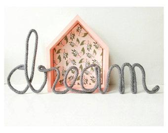 Wire Words, Wire Word Art, Word Wall Art, Yarn Wire Words, Custom Wire Signs, Dream Wall Art, Grey Nursery Decor, Kids Wall Art