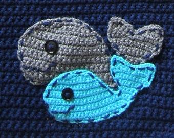 Crochet Whale Pattern; Under the Sea Crochet Pattern; Whale Applique