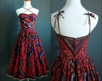 1950s african fabric dress, 1950s dress, 1950s strapless dress, medium size, vintage wax print dress, vintage ankara, true vintage dress,