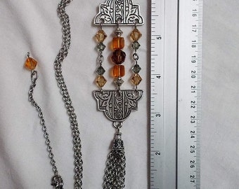 Art deco pendant with topaz or blue crystals, Art deco tassel necklace, roaring 20s jewelry, 30s jewelry, 1930 jewelry, surgical steel chain