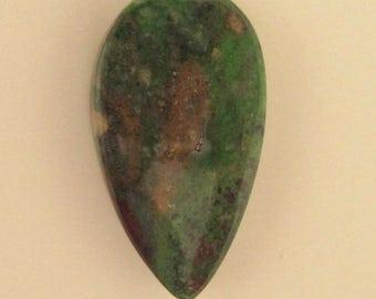 Teardrop Chrysocolla designer cabochon in dark greens and brown tones. 22 x 40 mm. High polish stone.  143L0077