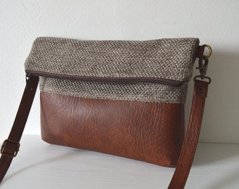 Foldover Crossbody Bag, Simple Everyday Purse, Fabric and Faux Leather Shoulder Bag Purse