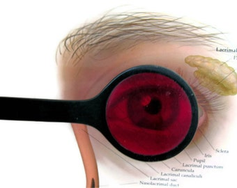 Vintage Ophthalmic Occluder Red Lens Eye Doctor Exam Tool Medical Instrument