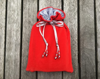 Red Cotton Velvet Tarot / Oracle Bag Lined with Silver Dupion Silk