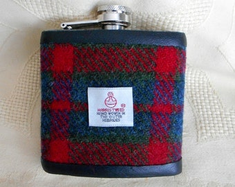 Harris Tweed hip flask red green blue plaid tartan mens gift retirement gift best man usher groomsman birthday 21st made in Scotland  UK