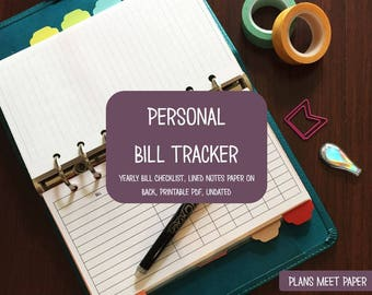 PRINTABLE Personal Bill Tracker