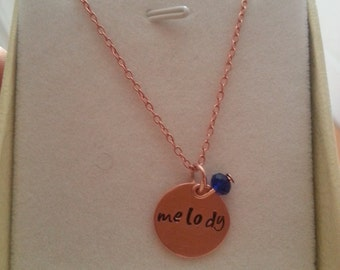Personalized jewelry, Hand stamped necklace,Sterling silver,Rose gold necklace, Name necklace, Personalized necklace