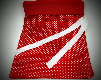 "Gift bag, cloth gift bag, wine gift bag, reusable cloth gift bag, reversible gift bag, red gift bag, polka dot pattern, 9""w x 14""h,"