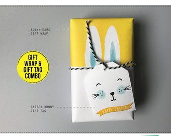 Bunny gift wrap etsy easter gifts wrapping paper gift tag set availabe in 5 colours easter bunny wrapping and gift negle Image collections