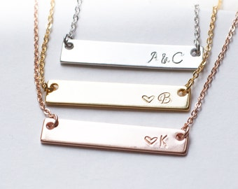 Bar bridesmaid necklace nameplate personalized jewelry set of 3 4 5 6 7 8 9   unbiological sister jewelry rose gold silver gifts bridal /4