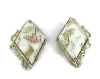 1950s Diamond Shaped Confetti Lucite Earrings Marked PAM