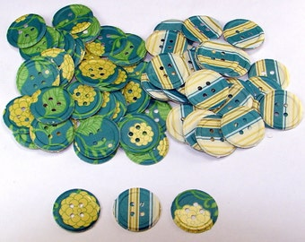 100 Pieces Teal and Marigold Hand Punched Die Cut Buttons, Chesterfield