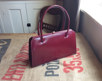 Handbag, vintage, leather, deep red wine colour