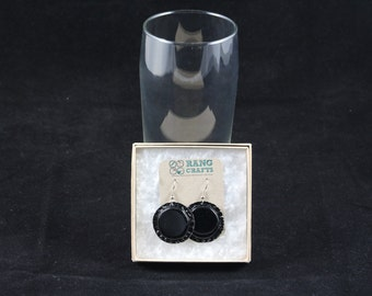 Bottle Cap Earrings (Black)