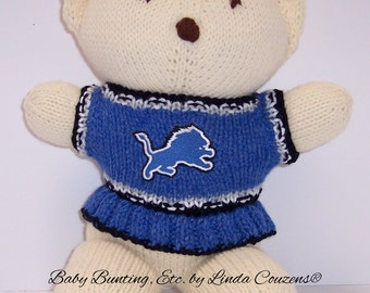 Bear, Detroit Lions, Cheerleader Bear, Baby Girl Bear, Shower Gift, Birthday Gift, Keepsake Bear, Souvenir Bear