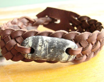 Celtic Weave of Life Spanish Leather Wristband with Serpentine Touch Stone
