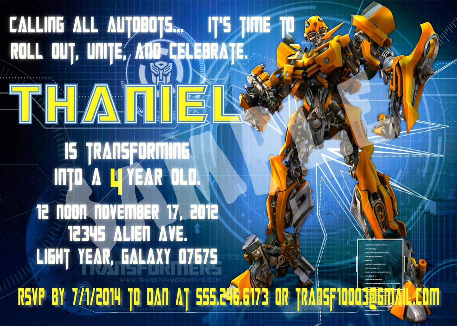 Fine Transformers Party Invitations Photos - Invitations Example ...