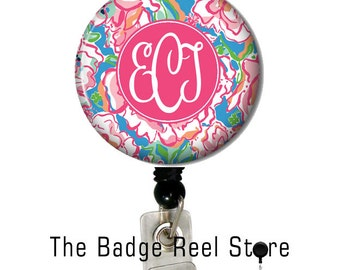 Name Badge Holder, Retractable ID Badge Holder, Name Tag, Personalized, Name, Badge Reel, ID holder, Nurse, Monogrammed - Preppy Lucky Charm