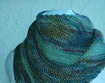 Colors of fall handknit shawl