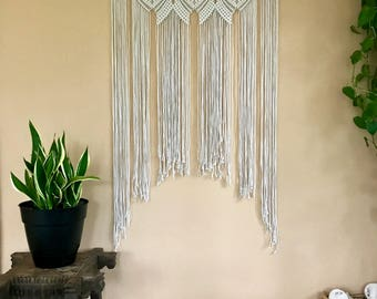 """Large Macrame Wall Hanging - Natural White Cotton Rope 36"""" Dowel - Boho Chic Home, Nursery Decor, Wedding Backdrop, Curtain - Made To Order"""
