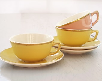 Set of 3 Pretty french  vintage cafe au lait Cup and saucers , yellow and pink and white and gold Teacups
