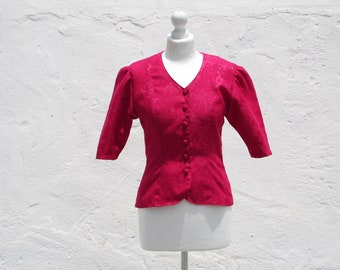 Hot pink fitted jacket 40s style jacket retro pink jacket pin up jacket fuchsia jacket