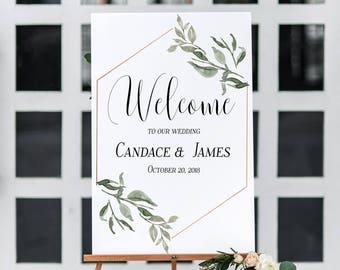 Wedding Welcome Sign Printable | Wedding Welcome Sign | Greenery Wedding Sign | Printable Wedding Sign | Greenery Wedding Decor | Sineage