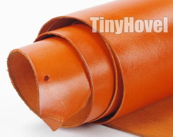 Italy Vegetable Tanned Leather, Orange of Leather Off Cuts, Italian Genuine Cowhide Leathercraft [Thickness: 1.8 mm] L010