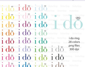 I Do Wedding Ring Diamond Digital Clipart - Instant download PNG files