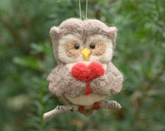 Needle Felted Owl Ornament - Valentine Heart