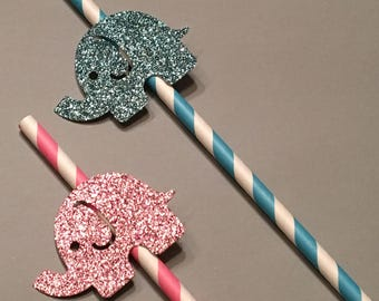 12 Elephant Straws Glitter Straws Pink and Blue Straws Gender Reveal Straws Baby Shower Straws Girl Straws Birthday Straws Boy Straws