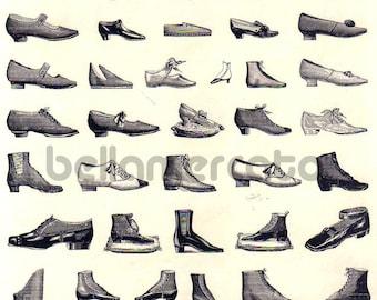 Vintage French Print - Shoes - Black and White Magasins De Nouveautes Plate