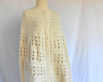 Vintage Hand Crocheted Shawl Coverlet Poncho Sweater