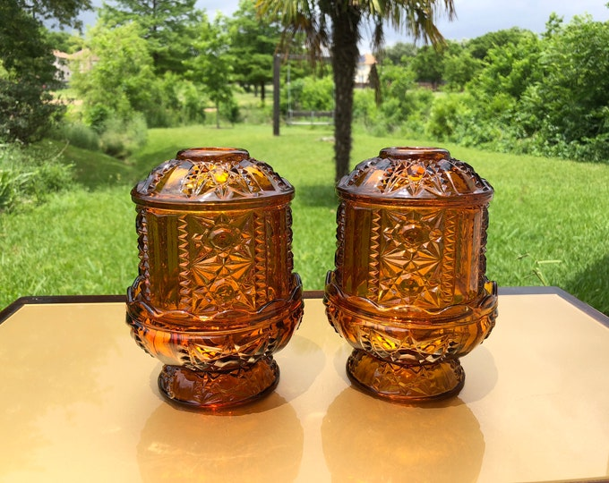 Indiana Glass Fairy Lamps, Amber Glass Candle Holders with Lids, Stars and Bars Pattern, Art Deco Style