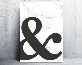 ampersand printable, ampersand print, marble art print, marble print, marble printable, marble poster, downloadable prints, digital prints
