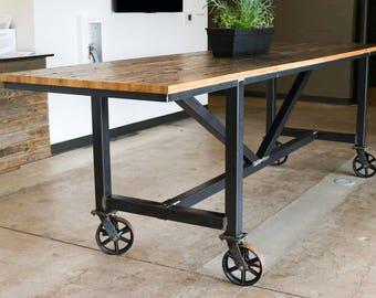 Reclaimed Wood Community Table (Boxcar Wood) (Oak) (Barnwood) (Steel Base) (Metal Base)