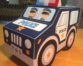 Police car favor box pdf printable cupcake treat box - navy blue van or truck paper toy or centerpiece decoration for police birthday party