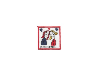 Best Friends Hearts Iron On Patch Embroidery Applique