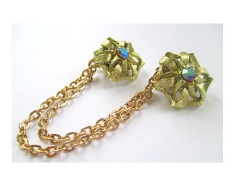 Sweater Guard * Flower With Aurora Borealis Crystals * Double Chain * Gold Tone * Classic Vintage