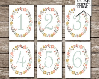 Table Numbers - Printable Digital download - Wedding - Table Party Numbers - Floral Vintage - Custom Number Colors Available