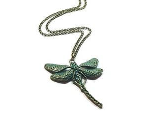 Dragonfly  Pendant  ,  Dragonfly Necklace , Verdigris Patina  Dragonfly Pendant  , Bronze Dragonfly Necklace