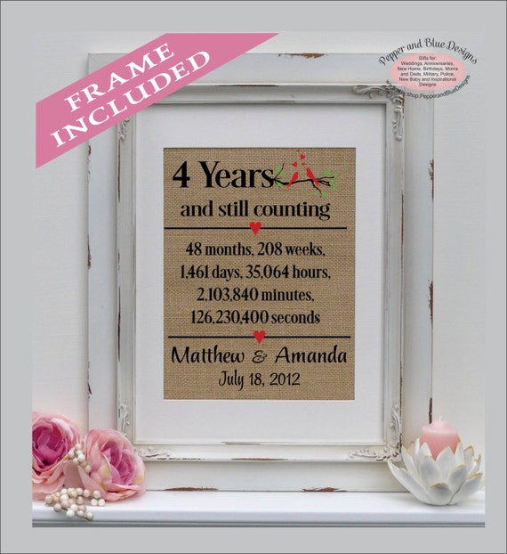4th Anniversary Linen Print 4 Year Linen Traditional Gift