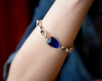 Chunky Silver Chain Bracelet with an extra large Cobalt Blue Crystal and a Toggle Clasp